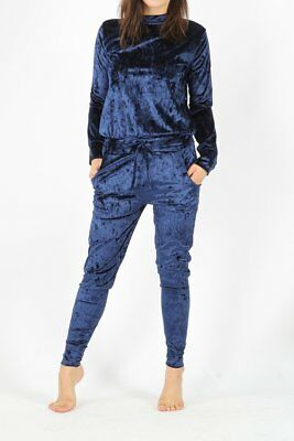 Ladies Woman's Navy Suede Tracksuit Lounge Wear Size 8 and 10