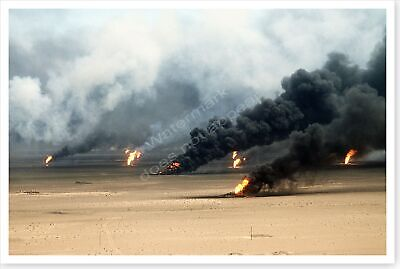 Raging Oil Fires Outside Kuwait City In Aftermath Of Desert Storm 8 x 12 Photo
