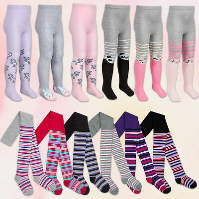 Girls Cotton Rich Tights 3 Pairs Patterned Soft Animal Design Striped Unicorn UK