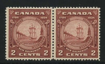"Canada 1934 150th Ann. New Brunswick 2c pair 'Closed Frameline"" #210, 210i MNH"