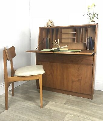 Mid Century Remploy Teak Bureau, Writing Desk And Storage Lockable With Key AT63