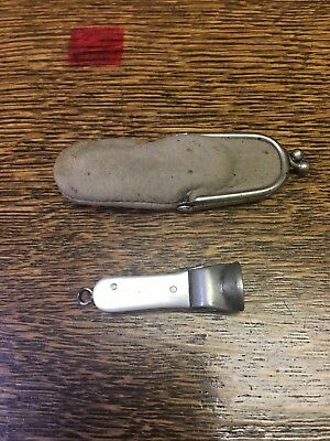 Vintage Cigarette Or Cheroo Pocket Fob Cutter Peal Handles With Pouch