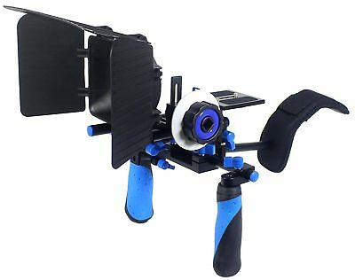 Pro Steady Movie Rig with Shoulder Mount, Follow Focus System, & Matte Box(Blue)