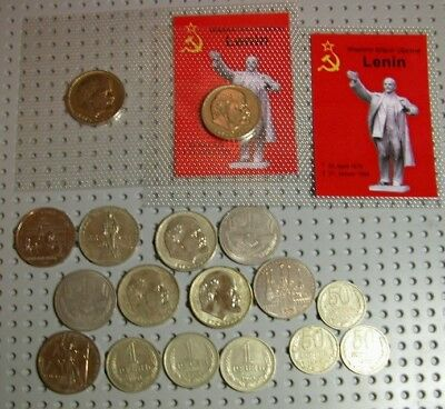 Lot of 14 USSR 1 Rouble Coins and 3 50 kopecks coins