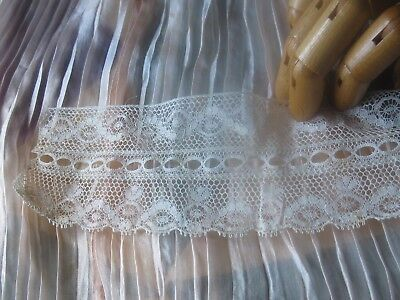 """ANTIQUE COTTON LACE WIDE RUFFLE/Flounce/NOS 2.5Yx2.5"""" FRENCH DOLL DRESS"""