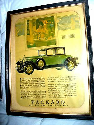 Vintage 1920's Packard Automobile  Car Ad In Frame