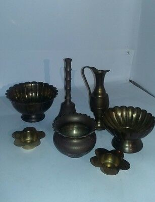 Vintage Brass Lot Of 7 Pcs Bell Bowls Candle Holders Pitcher