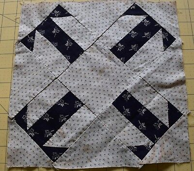 6719 1 antique 1870's Double T quilt block, indigo and shirting