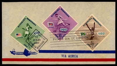 DOMINICA FDC 1957 SPORT SPORTS OLYMPICS 1956 MELBURNE OLYMPIA ap63