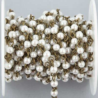 13 feet WHITE Pearl Rosary Chain, bronze, 4mm round glass pearl beads, fch0992b