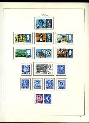 GB Used Comemoratives + Regionals 1965-6 Album Page Of Stamps #V6839