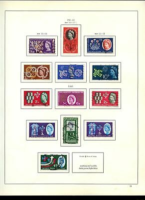 GB Used Comemoratives 1961-1962 Album Page Of Stamps #V6833