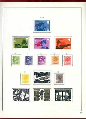 GB Used Comemoratives + Machins 1975-76 Album Page Of Stamps #V6862