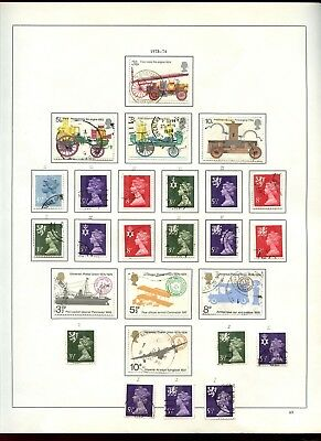 GB Used Comemoratives + Machins, Regionals 1973-1974 Album Page Of Stamps #V6857
