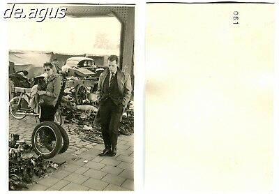Vintage Photo 1960s Man in suit,scrap metal recycling,woman with sunglasses