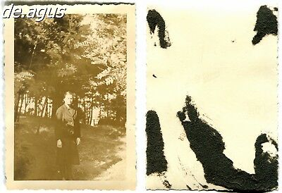 Vintage Photo circa 1930s woman , forest