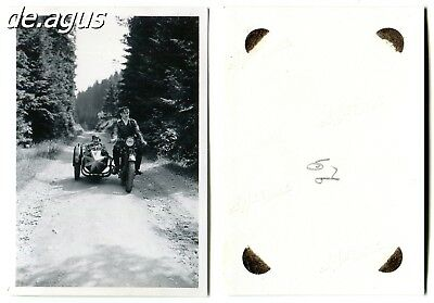 Vintage Photo circa 1930s young couple on motorbike with sidecar