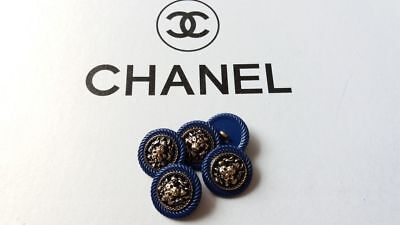 Chanel Buttons Set of 5  LION LOGO CC GOLD METAL. BLUE SIZE 20 MM