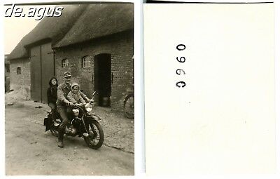 """Vintage Photo circa 1950s young Man with two boys on """"NSU"""" Motorbike"""
