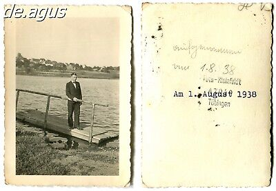 Vintage Photo from 1938 elegant young man ,Lakeside