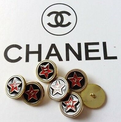 Chanel buttons 7 (19mm) red black with CC logo