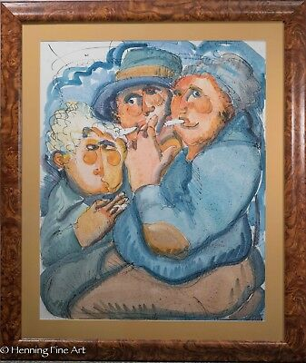 Fantastic Painting of 3 Smoking Figures, Unsigned, Previous Owners Paid $1000