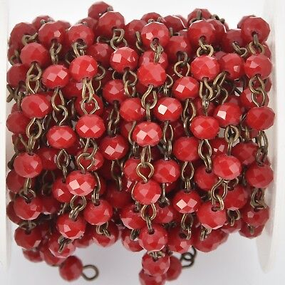 1 yard Dark Red Crystal Rosary Chain, bronze, 6mm rondelle beads, fch0993a