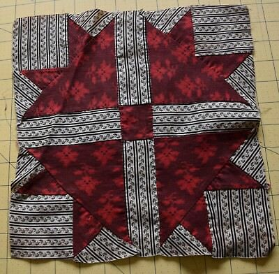 6726 1 antique 1870-80's Lily/Duckfoot quilt block, beautiful red and shirting