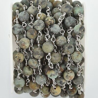 1 yard Matte Green AFRICAN TURQUOISE Gemstone Rosary Chain silver 6mm fch0994a