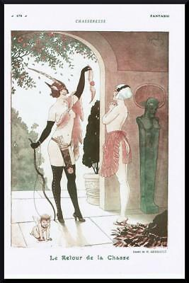 1916 ORIGINAL FRENCH VINTAGE PRINT Huntress Returns your Heart by GERBAULT F702