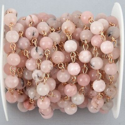 13 ft BLUSH PINK Agate Gemstone Rosary Chain, GOLD, 8mm round fch0995b