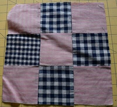 6729 1 antique 1900-15 9 Patch quilt block, woven gingham, pink stripe
