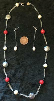 Sterling Silver, Coral & Pearls Necklace & Earrings