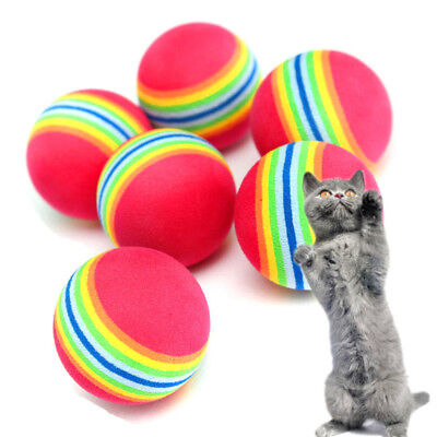 2Pcs Colorful Pet Cat Kitten Soft Foam Rainbow Play Balls Activity Toys Funny
