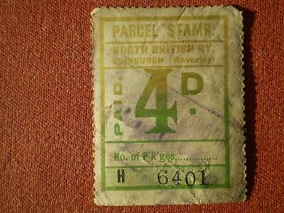 4d NORTH BRITISH RY ( RAILWAY ) PAID PARCEL STAMP Edinburgh Waverley