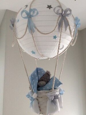 Starry night hot air balloon light shade blue and silver grey