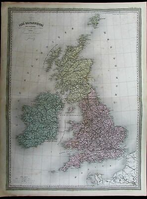 British Isles England Wales Ireland Scotland nice c.1865 Dufour old antique map