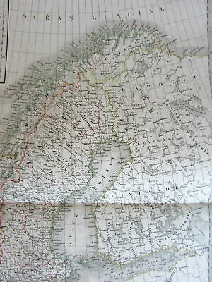 Scandinavia Iceland Norway Sweden scarce c.1830 Lapie large old map