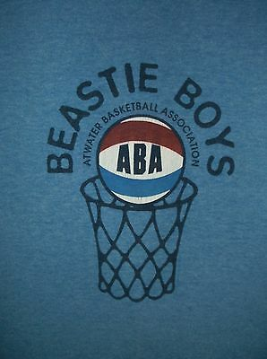 VTG 90's BEASTIE BOYS ABA t-shirt XL Blue Ringer 50/50 Atwater Basketball rock