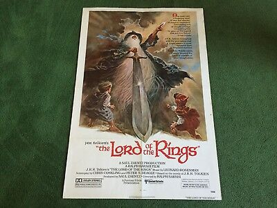 """Vintage 1978 Lord Of The Rings Animated Movie 27"""" X 40"""" Original Poster"""