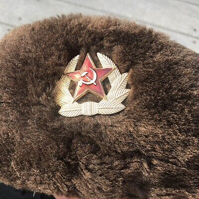 ef0d3d20a8ced Vintage Hat Russian Soviet Army KGB Synthetic Fur Military Cossack Ushanka