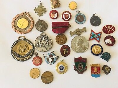 Antique and vintage Collection Of Badges And Medals And Watch Fobs