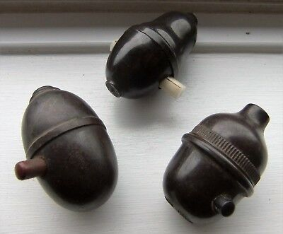 THREE Original Art Deco Vintage Bakelite Light Lamp Toggle Switch