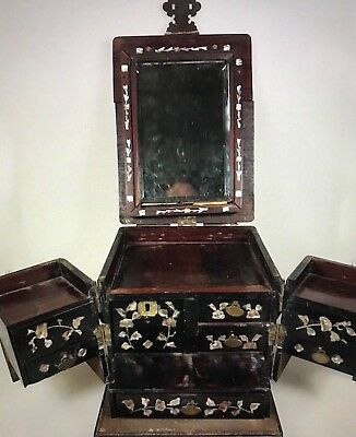 """A beautiful TRAVEL CABINET - Exotic wood """"burgoté"""" -brass ornaments- ASIA 1900s"""