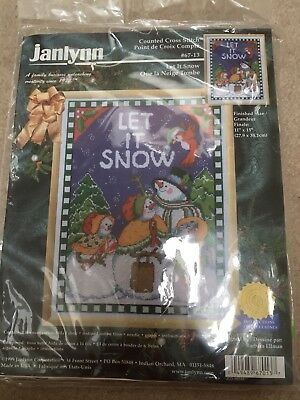 "Janlynn Cross Stitch Kits let it snow snowman family 11x15"" counted christmas"