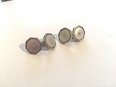 Pair of Antique/Vintage Solid Silver and Mother of Pearl Cufflinks