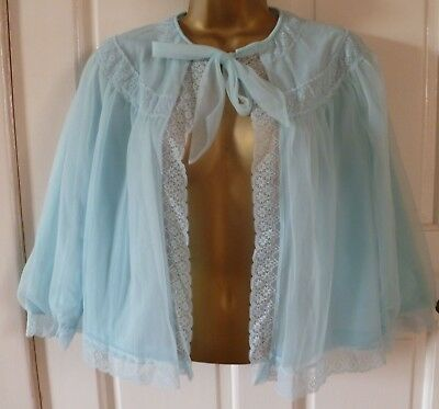 Vintage St Michael 60S Turquoise 2 Layer Nylon Bed Night Jacket Size 12-14