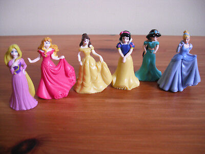 """Lot bundle 6 small DISNEY PRINCESS dolls/figures good cake toppers approx 2"""" tal"""