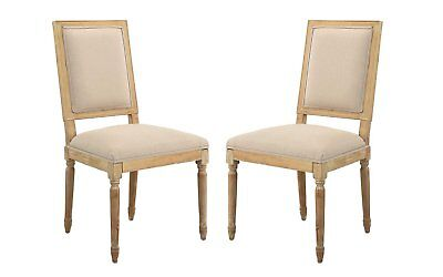 2 Piece Upholstered Classic Wood Kitchen Dining Chairs, Beige