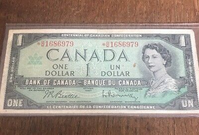 Bank Of Canada 1967 $1 One Dollar Bill Replacement Note Circulated * B/M C126